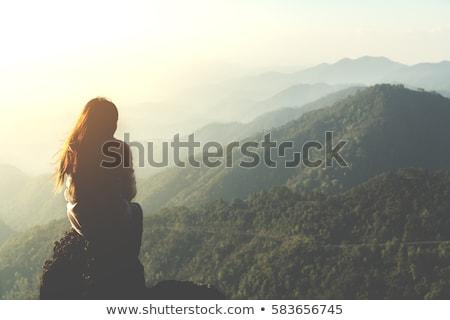 feliz · mulher · caminhadas · ensolarado · montanhas · andarilho - foto stock © anna_om