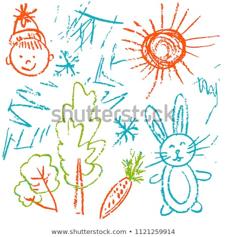 Rabbit And Wax Crayon Stock photo © derocz