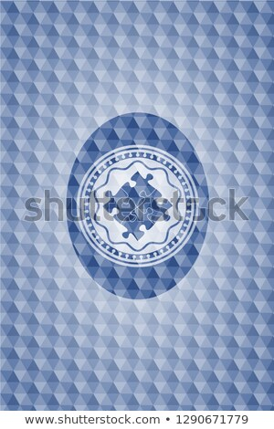Stockfoto: Solution And Puzzle Sign In Blue Hexagon Banner