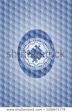 Solução quebra-cabeça assinar azul hexágono bandeira Foto stock © marinini