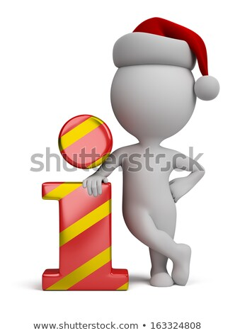 3d small people   santa and info icon stock photo © anatolym