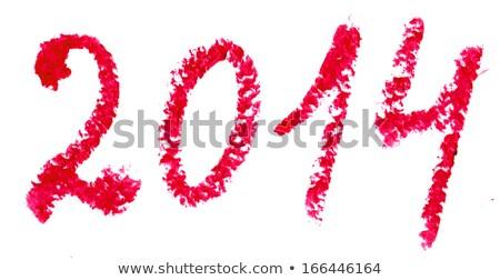 слово 2014 написанный помада изолированный белый Сток-фото © vlad_star