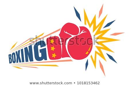 пылающий боксерская перчатка иллюстрация огня спорт Панорама Сток-фото © Krisdog