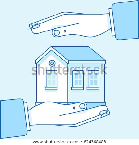 Ev sigortası mavi dizayn stil beyaz düğme Stok fotoğraf © tashatuvango