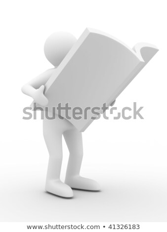 man reads magazine on white background isolated 3d image stock photo © iserg
