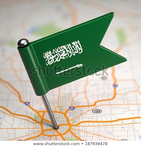 Suudi Arabistan küçük bayrak harita seçici odak arka plan Stok fotoğraf © tashatuvango