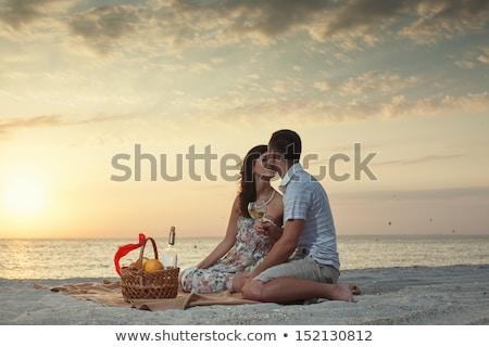 pár · tengerpart · luxus · pezsgő · piknik · nő - stock fotó © monkey_business