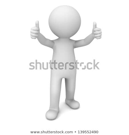 Stock photo: 3d man thumbs up gesture illustration