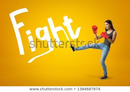 Gyönyörű lány rúgás láb gyönyörű szexi lány zárva Stock fotó © feelphotoart