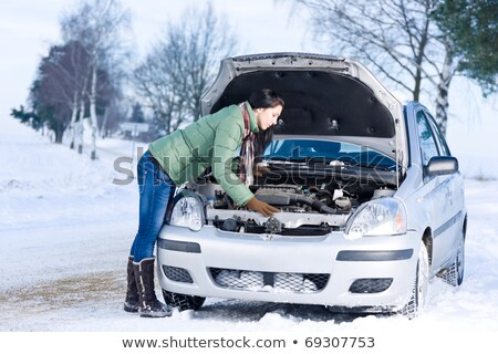 Winter car breakdown - woman try to repair motor Stock photo © HASLOO