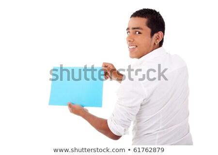 Jovem homem de volta azul cartão mão Foto stock © alexandrenunes