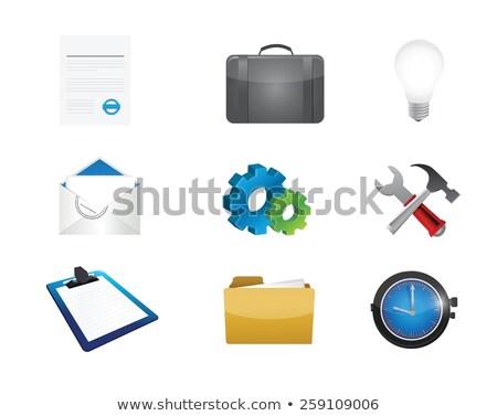 light bulb idea tools settings illustration design over white Stock photo © alexmillos