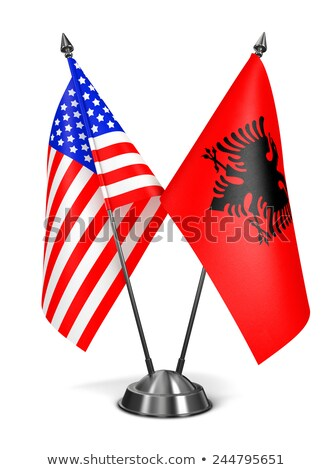 EUA Albania miniatura banderas aislado blanco Foto stock © tashatuvango