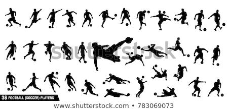 Football joueurs vecteur stylisé ligne blanc noir Photo stock © Slobelix
