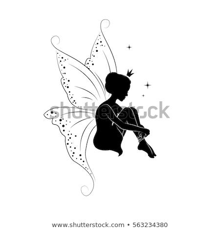 Stok fotoğraf: Kadın · uçan · kelebekler · vektör · kafa · renkli