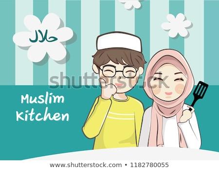 bonitinho · muçulmano · menina · cachecol · sorrir - foto stock © aza