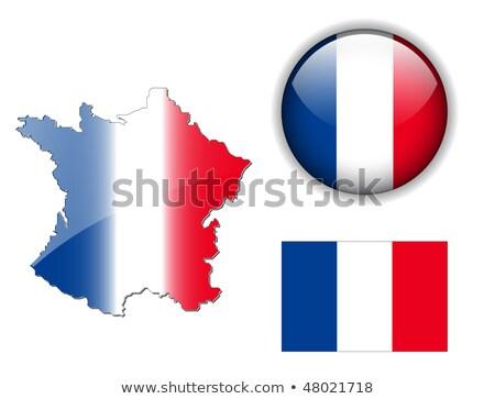 ストックフォト: 地図 · フラグ · ボタン · フランス語 · 共和国 · フランス