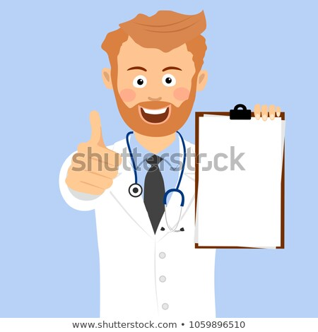 happy male doctor holding blank card and showing thumb up isolated on a white background stock photo © deandrobot