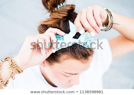 Jonge vrouw turkoois sjaal oorbellen vrouw textuur Stockfoto © elly_l