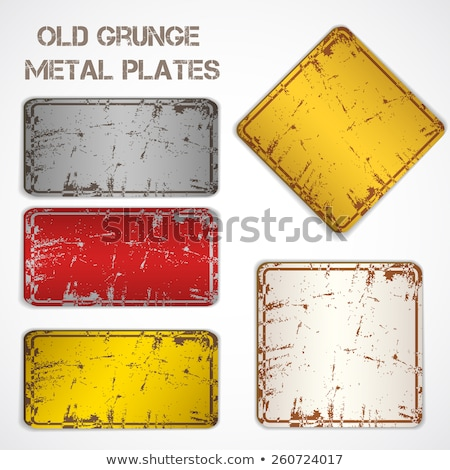 Conjunto amarelo sinais de trânsito textura do grunge isolado branco Foto stock © stevanovicigor