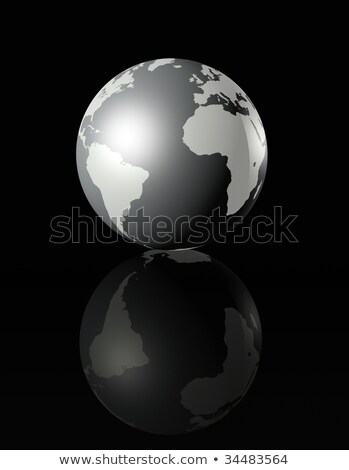 Zilver Glanzende Wereldbol Op Zwarte Achtergrond Stockfoto © Daboost