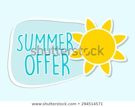 Summer Offer With Yellow Sun Sign Blue Flat Design Label Stockfoto © marinini