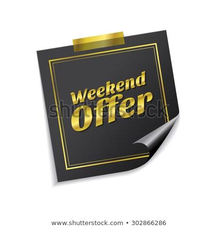 Weekend oferta złoty karteczki wektora ikona Zdjęcia stock © rizwanali3d