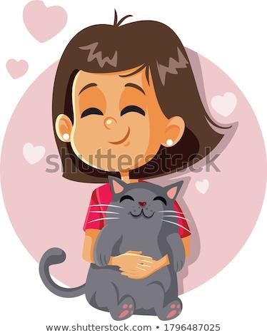Сток-фото: девушки · кошки · девочку · белый · Hat · сидят