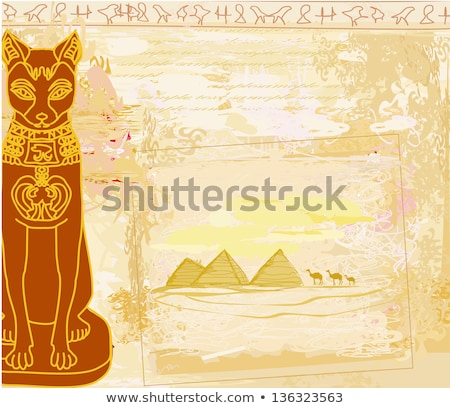 Stylizowany egipcjanin kot czarny Zdjęcia stock © Morphart