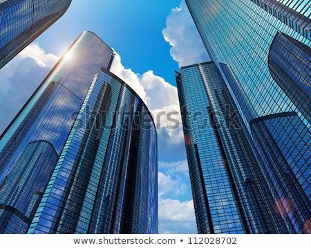 Blauw kantoorgebouwen illustratie beneden zon Stockfoto © Morphart