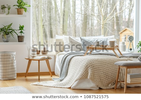 Breakfast in Bed Tray on Bed Next to Bedside Table Stock photo © ozgur