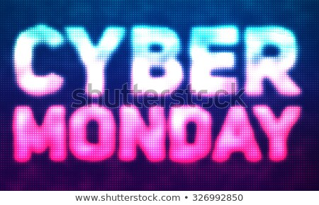 Stock photo: Vector cyber monday sale background. Vector illustration of embossed letters on blue and violet blur