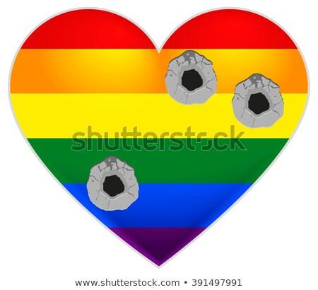 Szivárvány zászló homoszexuális szív lövedékek izolált Stock fotó © orensila
