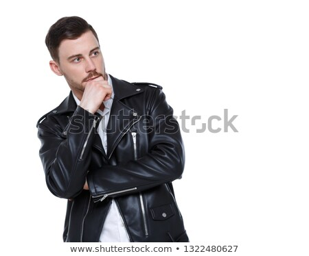 portrait of man with hand in plaid jacket Stock photo © feedough