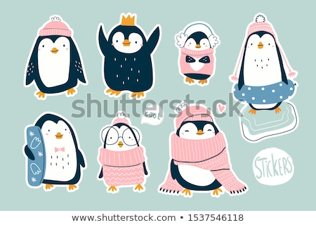 Cute pingouin coeur enfant art bleu Photo stock © kariiika