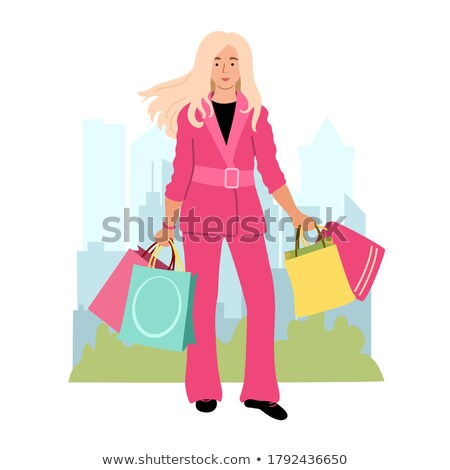 compras · nina · rosa · aislado - foto stock © lordalea