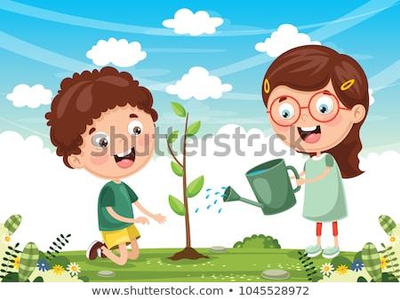 Weinig voorjaar meisje seizoenen boom gras Stockfoto © carodi