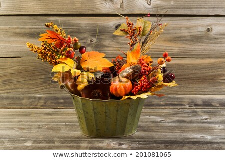 Autumn leaves fading on rustic wooden boards  Stock photo © tab62