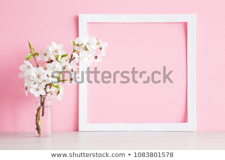 An empty template with pink floral border Stock photo © bluering