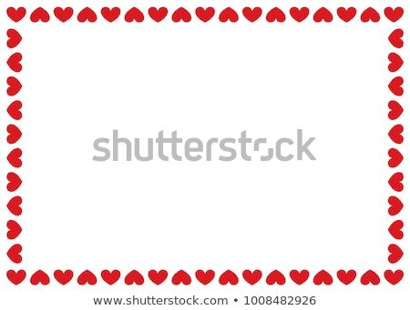 Szívek keretek Valentin nap illusztráció piros arany Stock fotó © Irisangel