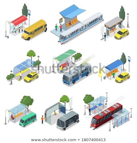 公共交通機関 停止 石 建物 市 にログイン ストックフォト © artjazz