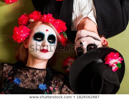 Belo gótico mulher jovem halloween make-up cara Foto stock © deandrobot