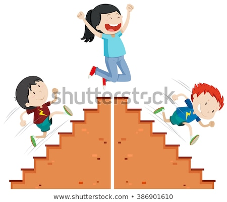 Boys running up and down the stairs vector illustration