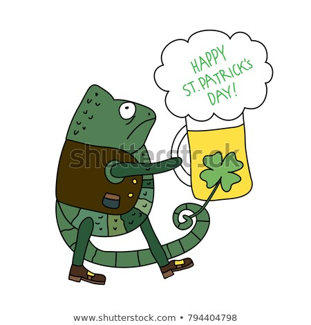funny frog cartoon  with beer glass Stock photo © doomko