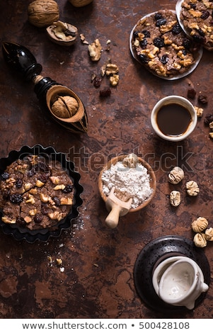 Italian cake made with chestnut flour and some of its basic ingredients stock photo © faustalavagna