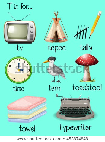 Flashcard letter t is for toadstool Stock photo © bluering