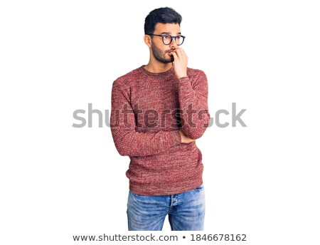 Stock photo: portrait of a young man with glasses on a jumper
