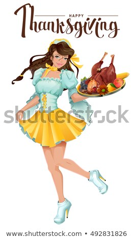 Happy Thanksgiving Day. Cute girl waiter brings a tray of roast turkey, vegetables and fruit Stock photo © orensila