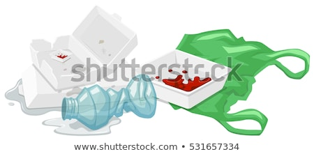 Foam boxes and plastic bottle on the floor Stock photo © bluering