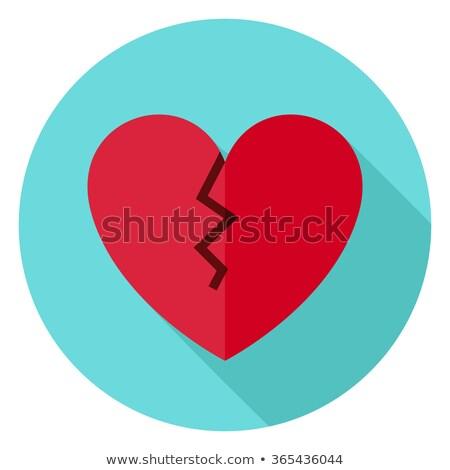 Stock photo: Broken Heart Flat Circle Icon